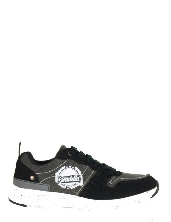 Ανδρικά Sneakers παπούτσια μαύρα υφασμάτινα K70420F