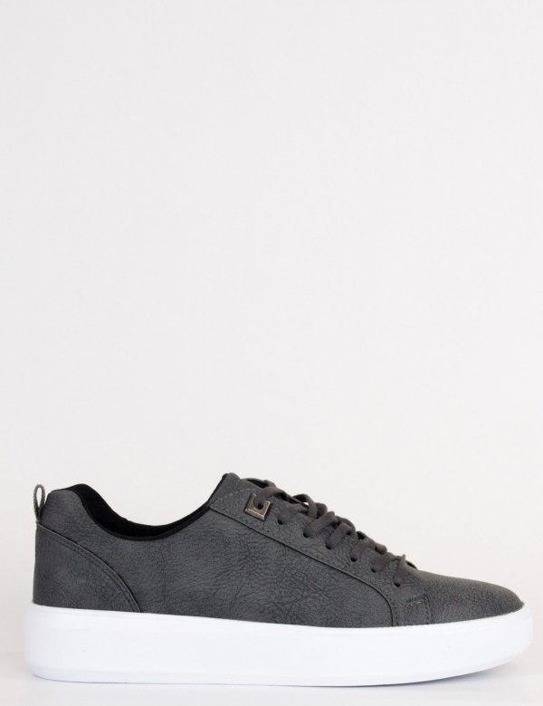 Ανδρικά γκρι Casual Sneakers με κορδόνια TL89026G