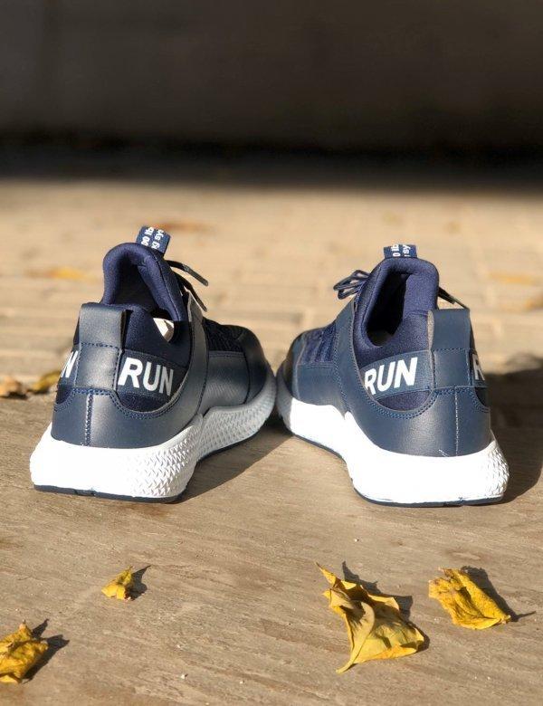 Ανδρικά μπλε αθλητικά Sneakers με ελαστικά κορδόνια TL89018L