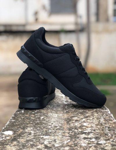 Ανδρικά μαύρα Casual Sneakers με κορδόνια TL89028L