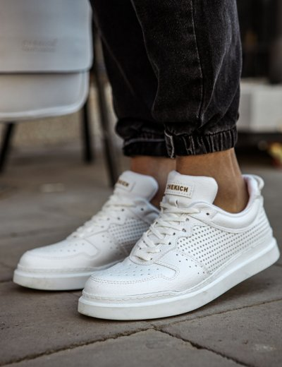 Ανδρικά Λευκά Casual Sneakers διάτρητα CH109