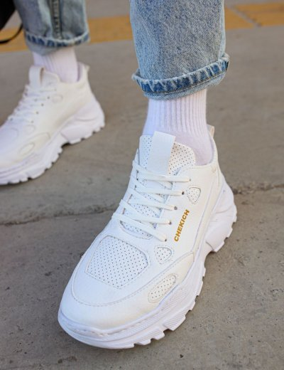 Ανδρικά λευκά Sneakers δερματίνη τρακτερωτή σόλα CH089
