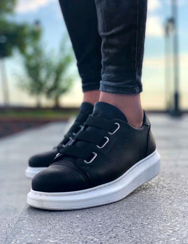 Ανδρικά μαύρα Casual Sneakers δερματίνη CH253