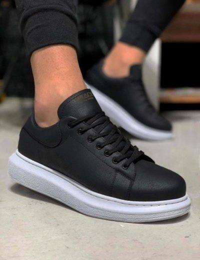 Ανδρικά μαύρα Casual Sneakers με κορδόνια 0442020