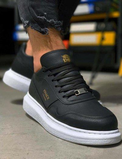 Ανδρικά μαύρα Sneakers με κορδόνια 0382020