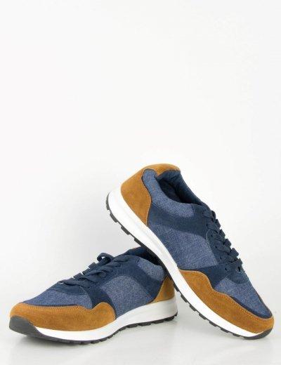 Ανδρικά μπλε Sneakers με κορδόνια και διχρωμία B15353Q