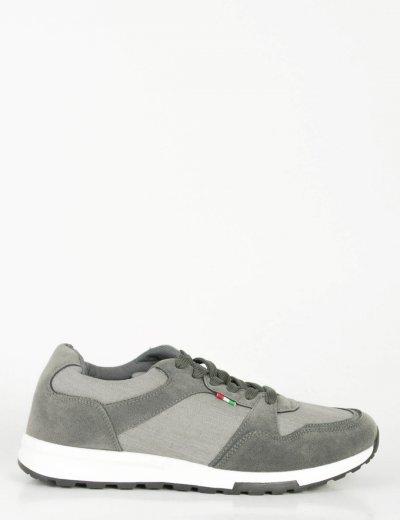 Ανδρικά γκρι Sneakers με κορδόνια και διχρωμία B15353