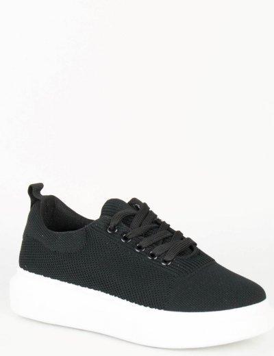 Γυναικεία μαύρα Sneakers κάλτσα λευκή σόλα PP47