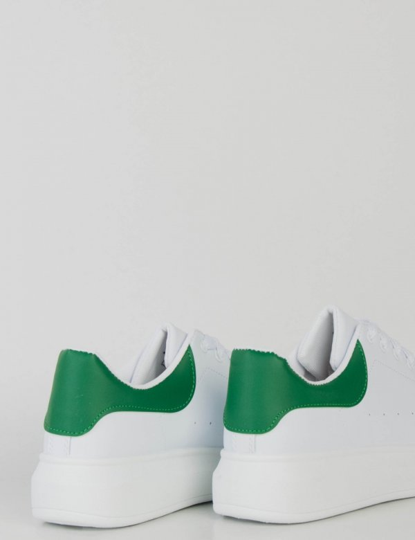 Ανδρικά λευκά πράσινο δίσολα Sneakers λαστιχένια σόλα M723H