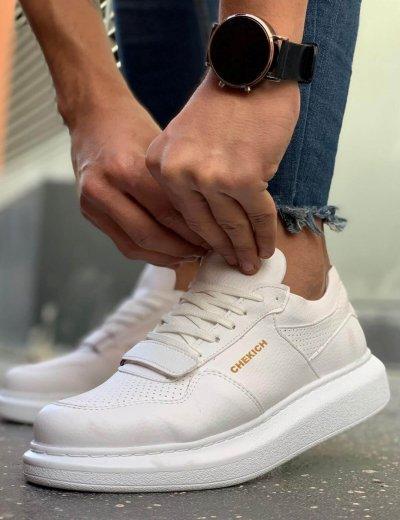 Ανδρικά λευκά Casual Sneakers δερματίνη με Scratch CH073R