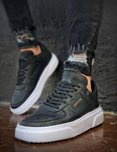 Ανδρικά μαύρα Sneakers δερματίνη λευκή σόλα CH087F