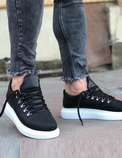 Ανδρικά μαύρα Sneakers δερματίνη ανάγλυφο σχέδιο CH021