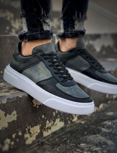 Ανδρικά μαύρα Sneakers δερματίνη με ανθρακί διχρωμία CH087