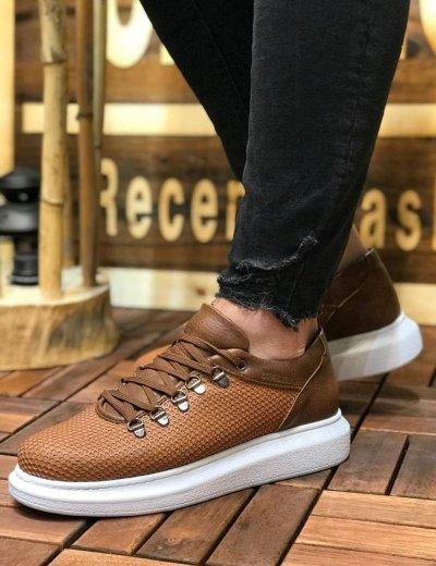 Ανδρικά καφέ Sneakers δερματίνη ανάγλυφο σχέδιο CH021K