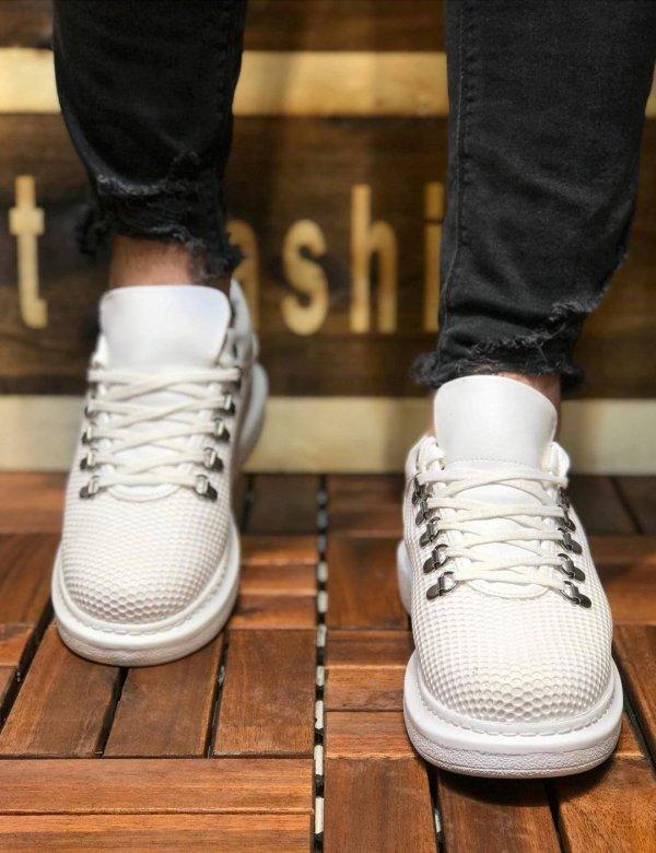 Ανδρικά λευκά Sneakers δερματίνη ανάγλυφο σχέδιο CH021L