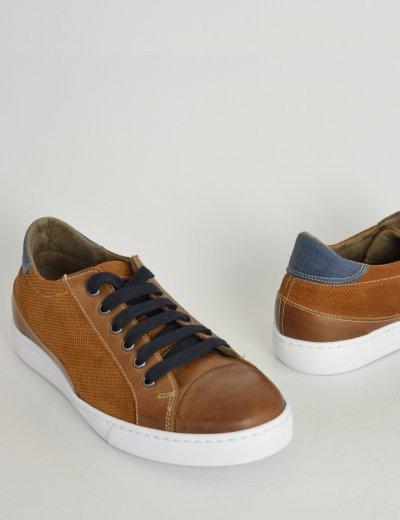 Ανδρικά δερμάτινα Sneakers Nice Step ταμπά με κορδόνια 775C