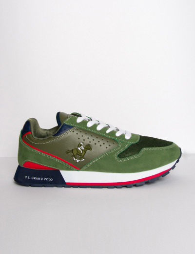 Us Grand Polo ανδρικά χακί casual sneakers διχρωμία USGP0012