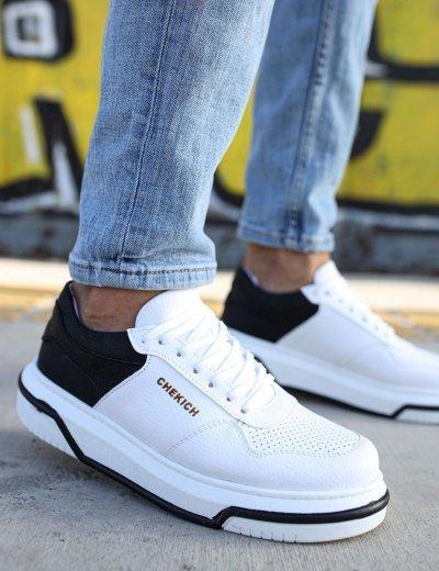 Ανδρικά λευκά δίσολα Sneakers με μαύρη διχρωμία CH075