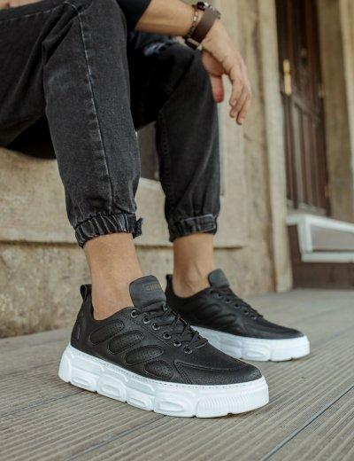 Ανδρικά Ασπρόμαυρα Casual Sneakers δίσολα CH105