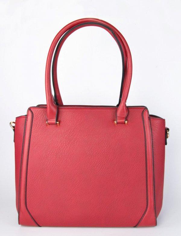 Γυναικεία κόκκινη τσάντα ώμου τετράγωνη δερματίνη 98695L