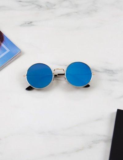 Γυναικεία μπλε στρογγυλά γυαλιά ηλίου καθρέπτης με χρυσό σκελετό Luxury LS6110D