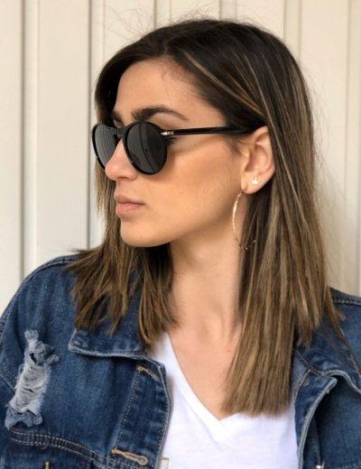 Γυναικεία μαύρα γυαλιά ηλίου κοκκάλινα Luxury S1114