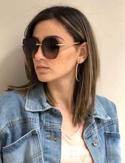 Γυναικεία καφέ ντεγκραντέ γυαλιά ηλίου με καφέ ανοιχτό σκελετό Premium S1105B