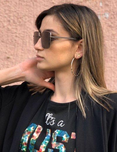Γυναικεία μαύρα τετράγωνα γυαλιά ηλίου με ασημί μεταλλικό σκελετό Premium S9050W