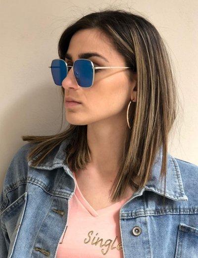 Γυναικεία μπλε πολυγωνικά γυαλιά ηλίου με ασημί σκελετό Premium S6078C