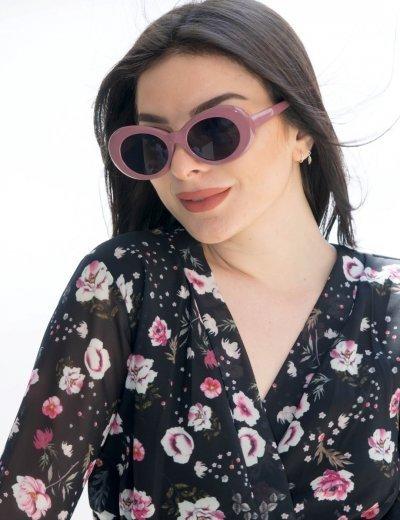 Γυναικεία λιλά οβάλ γυαλιά ηλίου μονόχρωμα Luxury S5700Z