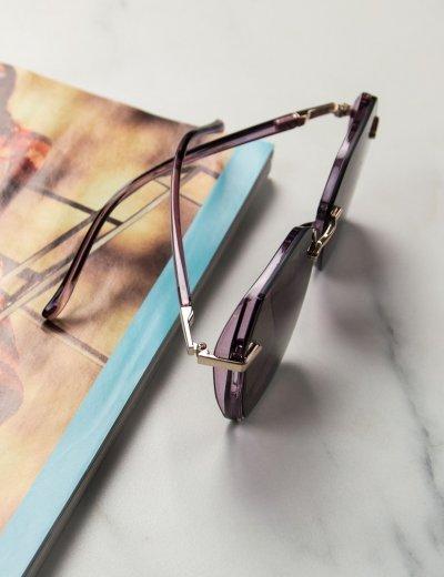 Γυναικεία μωβ πολυγωνικά γυαλιά ηλίου με κοκκάλινο σκελετό Premium S1100W