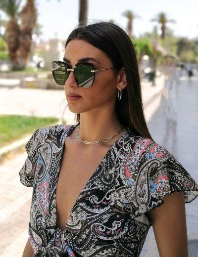 Γυναικεία μαύρα γυαλιά ηλίου με μαύρο σκελετό Premium S1105L