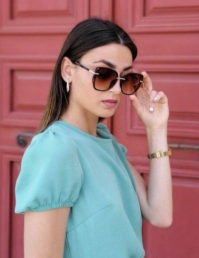 Γυναικεία μωβ πολυγωνικά γυαλιά ηλίου με κοκκάλινο σκελετό Premium S1110X