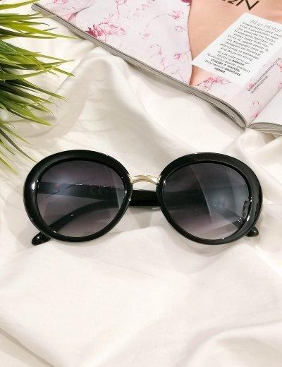 Γυναικεία μαύρα οβάλ κοκκάλινα γυαλιά ηλίου Premium S6051