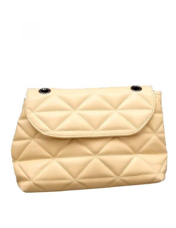 Γυναικεία ώχρα καπιτονέ τσάντα ανθρακί αλυσίδα 210345Z