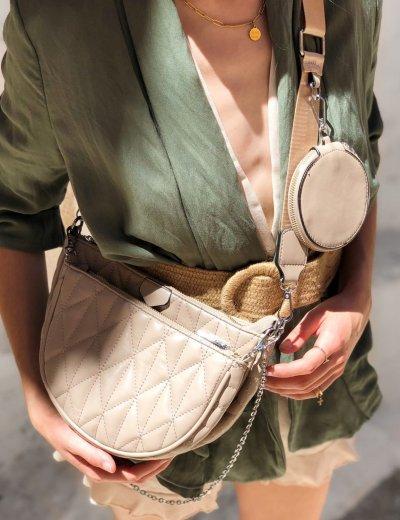 Γυναικεία πούρο διπλή καπιτονέ τσάντα χιαστί 989282B