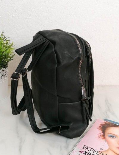 Γυναικείο μαύρο Backpack δερματίνη 210341V
