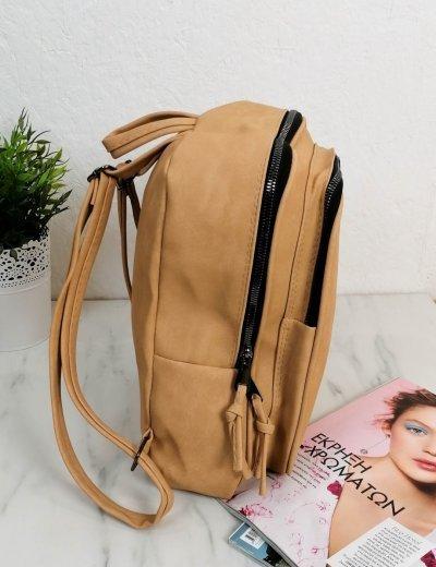 Γυναικείο μπεζ Backpack δερματίνη 210341R