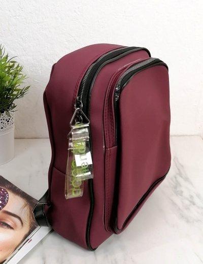 Γυναικείο μπορντό Backpack ανάγλυφο σχέδιο 210340M