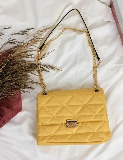 Γυναικείο κίτρινο καπιτονέ τσαντάκι χιαστί 210354