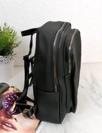 Γυναικείο μαύρο Backpack ανάγλυφο σχέδιο 210340B