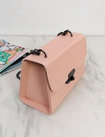 Γυναικείο ροζ τσαντάκι χειρός με αλυσίδα 210350