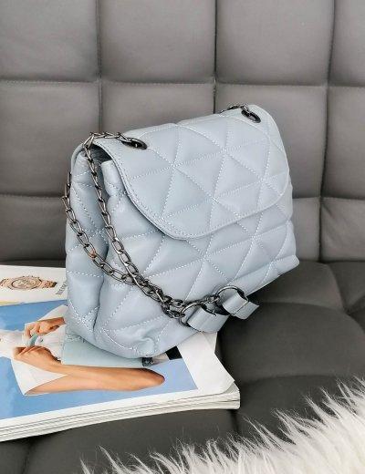 Γυναικεία σιελ καπιτονέ τσάντα ανθρακί αλυσίδα 210345S