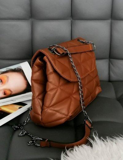 Γυναικεία καφέ καπιτονέ τσάντα ανθρακί αλυσίδα 210345K