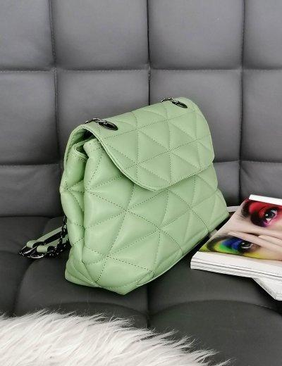Γυναικεία φυστικί καπιτονέ τσάντα ανθρακί αλυσίδα 210345