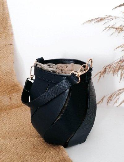 Γυναικείο μαύρο τσαντάκι πουγκί 210347Y