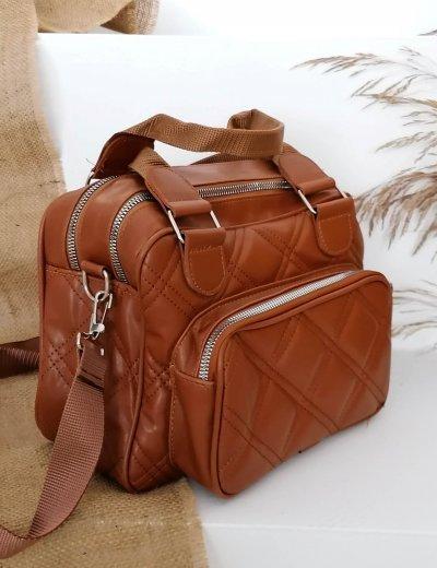 Γυναικεία καφέ καπιτονέ τσάντα χειρός 210344C