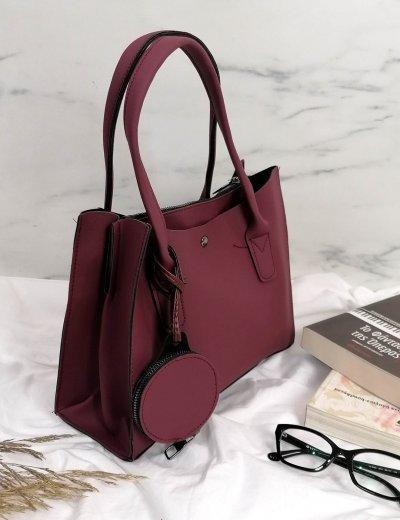 Γυναικεία μπορντό τσάντα ώμου με πορτοφόλι 210342B