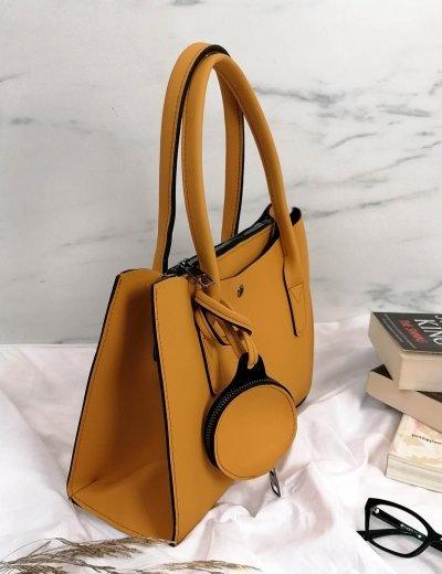 Γυναικεία ώχρα τσάντα ώμου με πορτοφόλι 210342U
