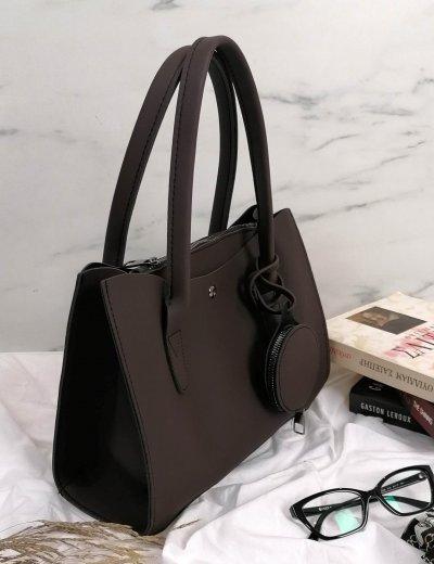Γυναικεία καφέ τσάντα ώμου με πορτοφόλι 210342C